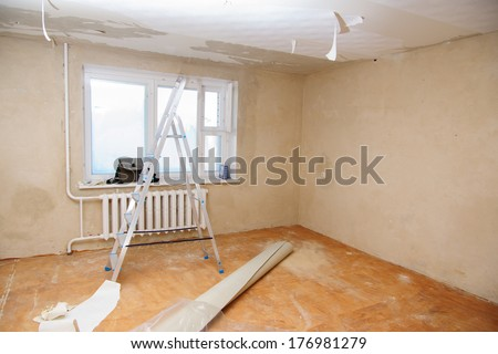 preview apartment where renovations are taking place with the processing of all surfaces - stock photo