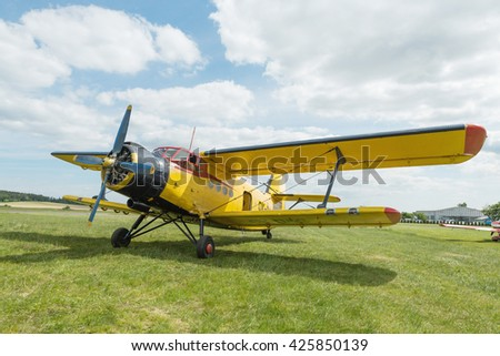 Pribram, CZE - MAY 21, 2016: Old classic Antonov (AN-2) cornhusker airplane for parachuting on the ground