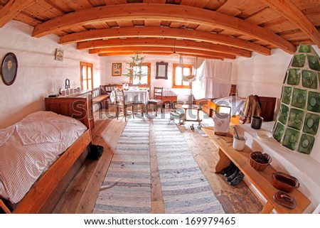 PRIBYLINA, SLOVAKIA - JANUARY 4: Interior of typical historical Slovakian rural house at Pribylina on January 4, 2014 in Pribylina