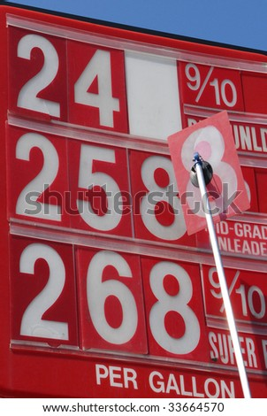 Price changing on gas sign as cost fluctuates - stock photo