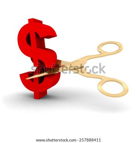 Price Cut Concept - Scissors Cutting Dollar Symbol - stock photo