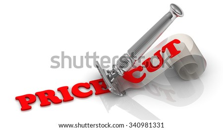 "Price cut. The razor shaves red word ""price"". On cossettes red word ""cut"". Financial concept. The three-dimensional illustration"