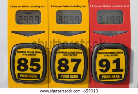 Price display on three different levels of gasoline in US dollars.  Price gouging? - stock photo