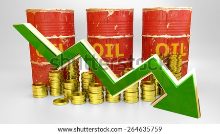 price of fuel decreases - 3D concept ilustration - red oil barrels with golden coins and green arrow - stock photo