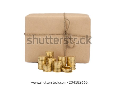 Price of sending parcels. concept