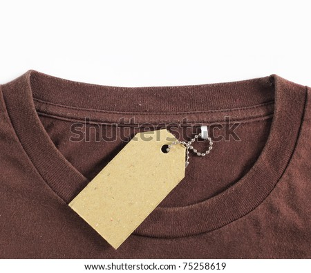 price tag hang over brown tshirt. isolated over white background - stock photo