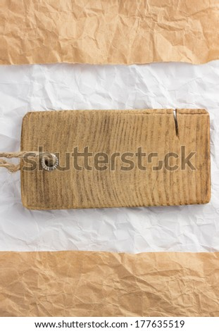 price tag label at paper texture - stock photo