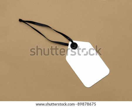 Price Tag label isolated on plain brown background - stock photo