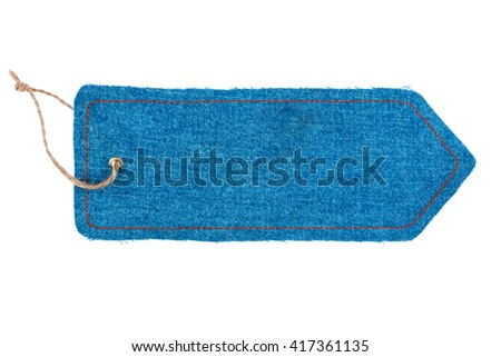 Price tag made of denim, isolated on white background - stock photo