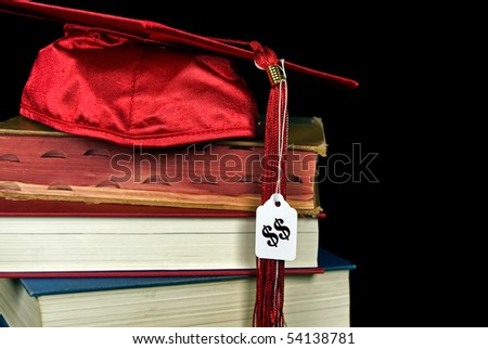 price tag on red graduation cap - stock photo