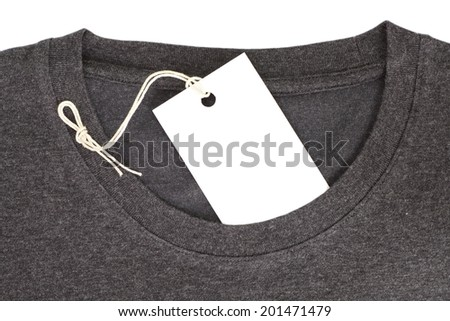 price tag on waxed cord with t-shirt - stock photo