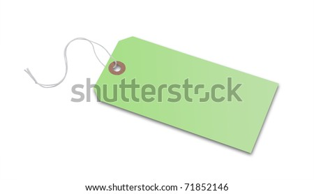Price tag or address label in green with string, isolated with clipping path