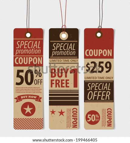 Price tag, sale coupon, voucher. Vintage Style template Design vector illustration. - stock photo
