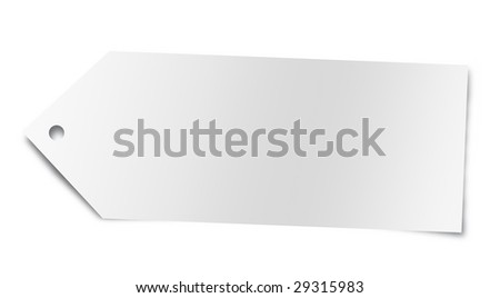 Price tag with copy space, isolated on white. Photo realistic render. - stock photo
