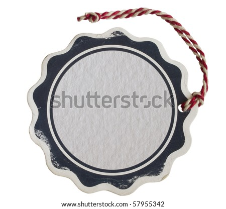 price tag with red string isolated on white - stock photo