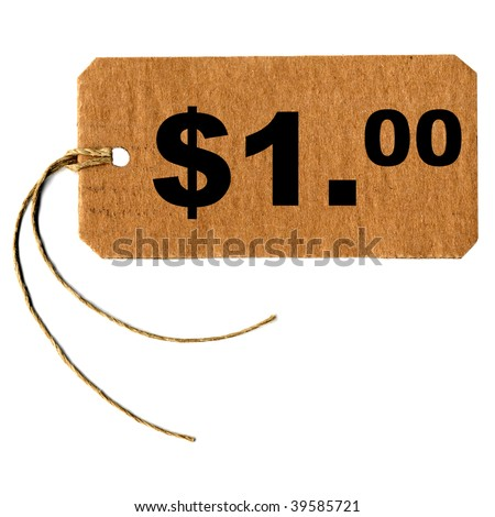 Price tag with string isolated over white, one dollar (1.00 USD)