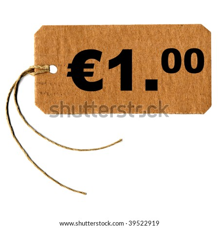 Price tag with string isolated over white, one euro (1.00 EUR)