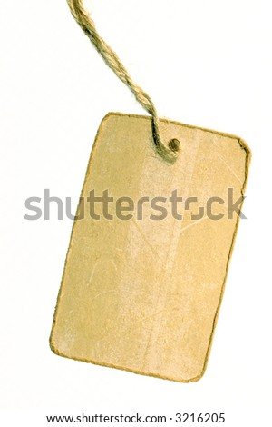 price tag with white background close up