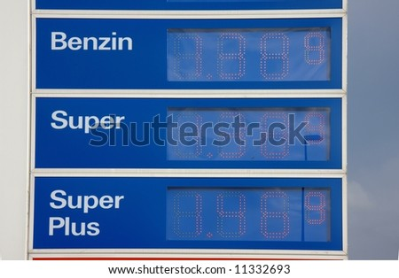 price tags at a filling station - stock photo