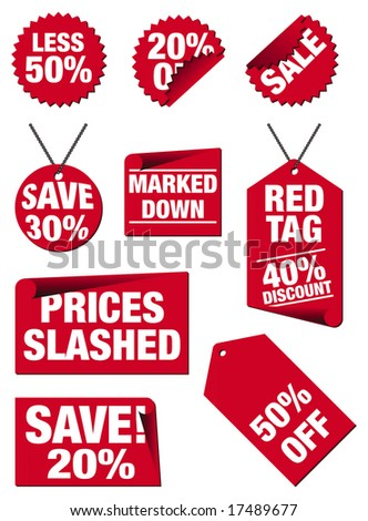 Price tags in red isolated on a white background - stock photo