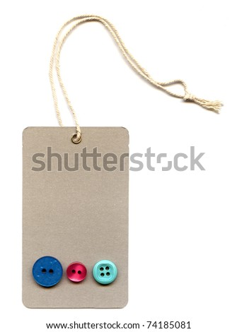 price tags or address label with string and three different buttons - stock photo