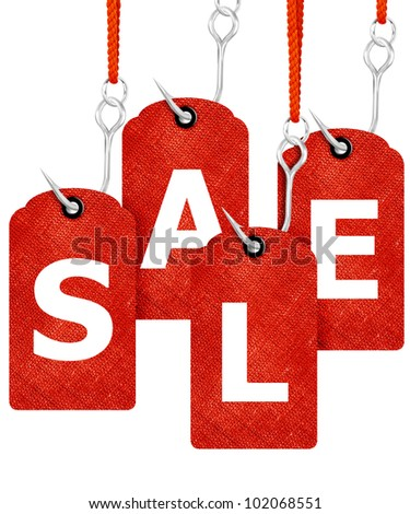 price tags with fishing hooks creating sale word. - stock photo