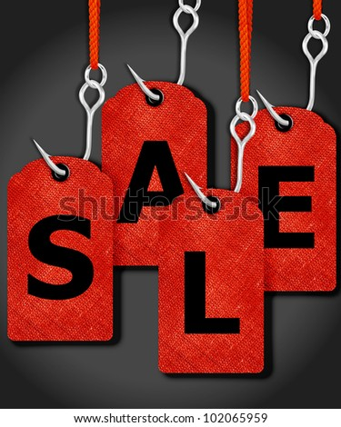 price tags with sale word and fishing hook. - stock photo