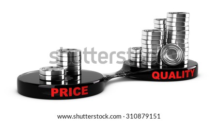Price vs quality concept, abstract coins piles. Conceptual image for business cost management for a value added product. - stock photo
