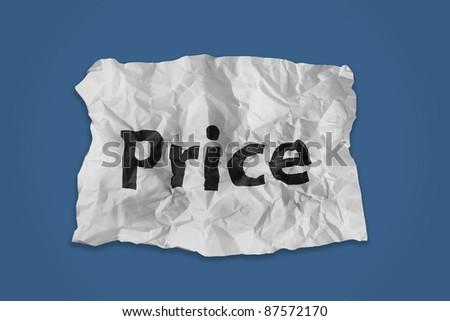 Price word print on paper - stock photo