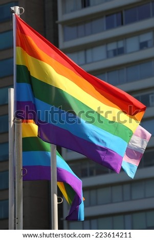 Pride Flag. A gay pride flag waving in the wind on a sunny day.