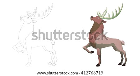 Pride Noble Reindeer. Coloring Book, Outline Sketch, Animal Mascot, Game Character Design isolated on White Background  - stock photo