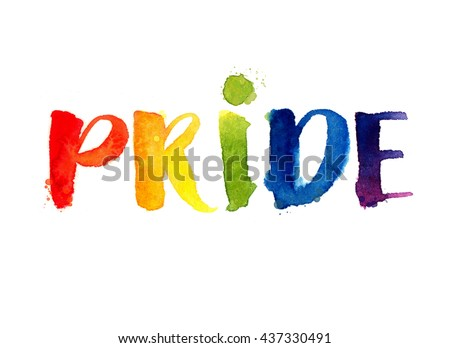 Pride. Rainbow word isolated on white background. Watercolor lettering. Gay parade symbol - stock photo