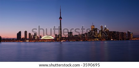 pride week, Downtown Toronto view from Central Island - stock photo