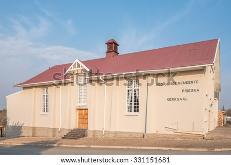 PRIESKA, SOUTH AFRICA - AUGUST 24, 2015: The hall of the Dutch Reformed Church in Prieska in the Northern Cape Province of South Africa