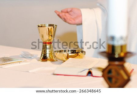 priest and worship at the altar - stock photo