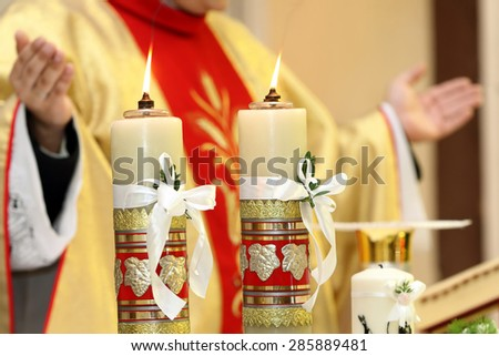 Priest celebrate a mass at the church