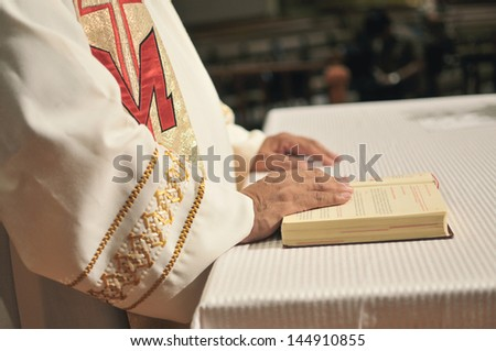 priest hands - stock photo