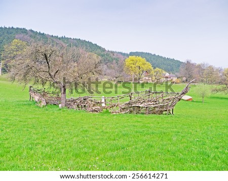 "PRIGGLITZ, AUSTRIA - 02  April 2014: The exhibition ""Kunst in der Landschaft"" presents the work of international artists on the meadows and in the forest around the manor Gasteil.  - stock photo"