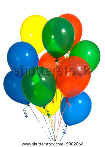 Primary color party balloons for a background