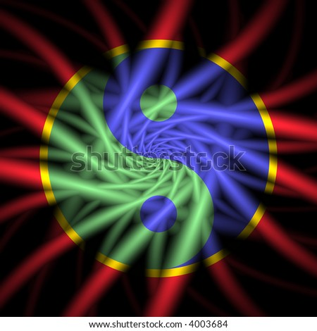primary color yin yang symbol overlaying fractal spiral - stock photo