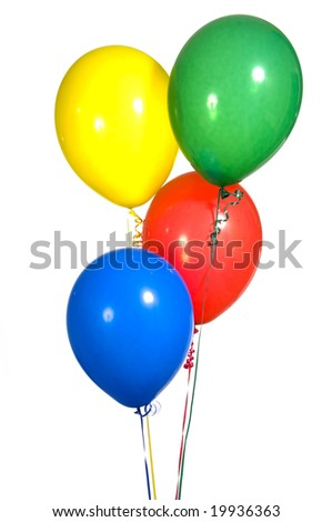 Primary colored party balloons with ribbons on white background