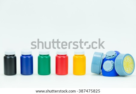 primary colors and Mask Painting - stock photo