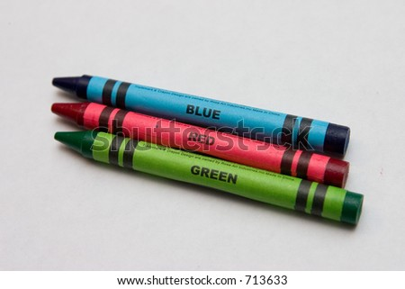 Primary Colors Crayons - stock photo