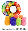 primary or secondary colors for you wool project? - stock photo