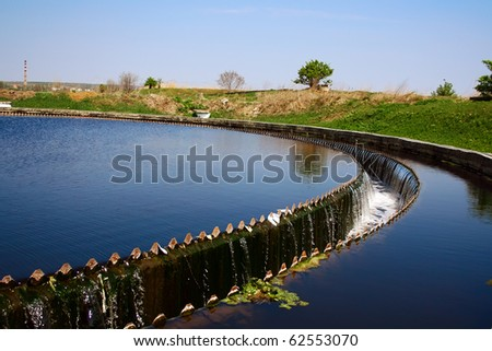 Primary Radial Settler at Wastewater Treatment Plant - stock photo