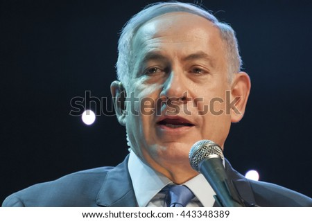 "Prime minister of Israel Benjamin Netanyahu giving an address at the Channel 9 ""People of the Year 2016"" ceremony. Jerusalem, Israel, June 14, 2016."