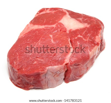 Prime raw rib-eye steak - stock photo