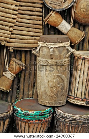 primitive instruments made from wood - stock photo