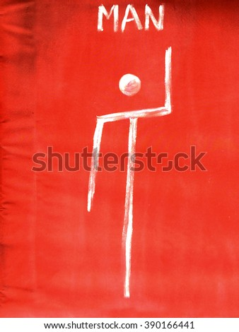 Primitive man toilet sign. background with copy space - stock photo