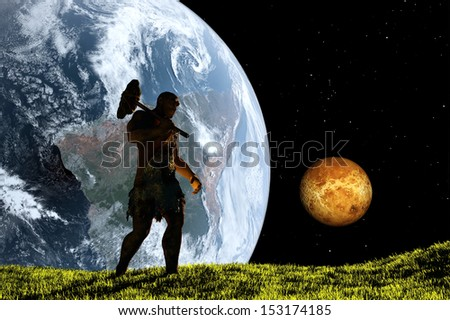 Primitive man walking on the grass on a background of the planet.